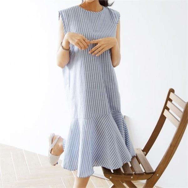 [アーバンフラン]バチカンストライプノースリーブワンピース(3color)new ロング/マキシワンピース/ワンピース/韓国ファッション