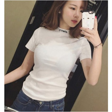 Women  Short Sleeved Summer Solid Color Cotton T Shirt