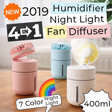 🌈Portable Fan➕Air Humidifier➕Essential Oil Ultrasonic Diffuser➕Night Light🌈Rechargeable Battery🌈