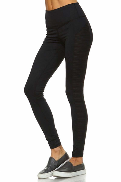 9ff5d2797a8c1 Mono B Womens Performance Activewear - Yoga Leggings with Sleek Contrast  Mesh Panels