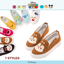 Gracegift-Disney Tsum Tsum Fur Texture Slip-Ons/Women/Ladies/Girls Shoes/Taiwan Fashion