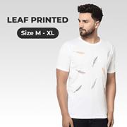 White Printed Leaf Tshirt