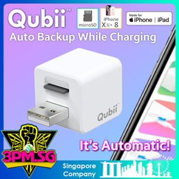 Qubii USB Flash Drive Auto Backup Apple iPhone Xs XR iPad iOS 64GB 128GB 256GB 400GB Lightning OTG