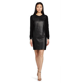 [] Leather-Front Cashmere Dress_108781086 []