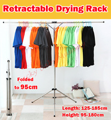 【Retractable Laundry Rack】Space Saving Easy Storage Clothes Rack Stainless Steel Long Lasting Rack