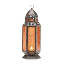 Gifts & Decor Tall Moroccan Style Amber Glass Candle Patio Lantern