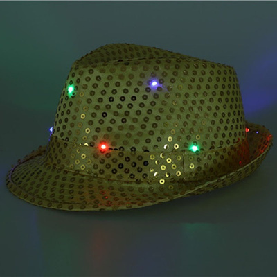Christmas Woman Man Sequins Light Up LED Hip Hop Jazz Hats Cap Flashing  Blinking Party New 580f846bc0f0