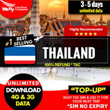 WeFly Thailand sim card (Network by Celcom) daily 300M 3-10 days unlimited data