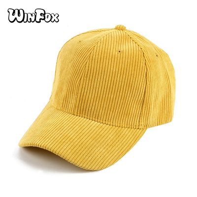 Winfox New Fashionable Black Grey Yellow Solid Color Corduroy Snapback Hats  Casquette Gorras Basebal 0fdd407f5b2