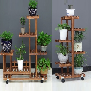 Qoo10 Wooden Plant Rack Flower Stand Gardening Shelf Storage Balcony Garden Tools Gardenin