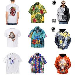 New creative 3D printed hoodieResort shirt collectionModal creative print T-shirt