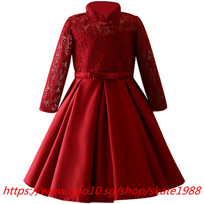 Winter Lace High Grade Dress For Baby Girl Gown Birthday Outfits Children Wedding Dresses Girl Kids