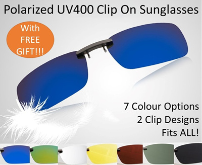 38aad8e003b Polarized Clip On Sunglasses with UV400 Full UV protection and Ultralight  weight Slim and Compact