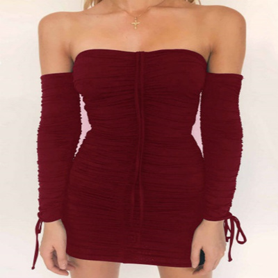 be6d6b83aa online Women Sexy Boob Tube Top Long Sleeve Solid Ruched Drawstring Party  Evening Mini Dress
