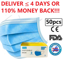 【Genuine FDA Certified】$9.80 / 50 Pcs Premium Quality 3-Ply Face Mask. Direct Distributor