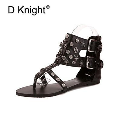 9c97505f237f54 Summer Flat Gladiator Sandals For Women Roma Black Leather Flip Flop Women  Punk Flat Heel Shoe