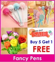 Flower pens/Cute pens/Rose pen/Fluffy Ball/Lollipop/Candy/teacher day gift/Goodie Bag/Children Day