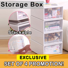 *CHEAPEST SET OF 4* | FITS Stackable Storage Drawer | Wardrobe | Table | Office | Shoe Storage
