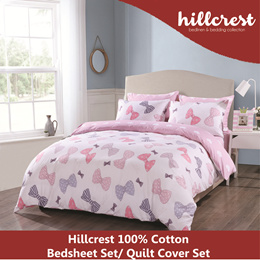 Hillcrest 100% Cotton Bedsheet Set 900TC Printed with Pillow Bolster Case Quilt Cover (Bowie)