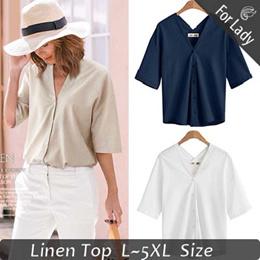 ♥2019 New Arrivals ♥ Casual V neck Linen Blouses (L-5XL) / Flat Price / Shirt / Blouses / Plus Size