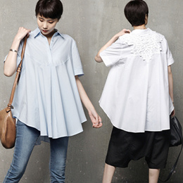 [HALUMAYBE][FREE SHIPPING]M240 Point Lace Half button Blouse