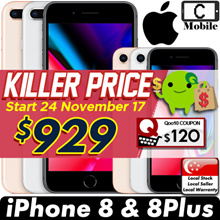 Brand New Apple iPhone 8 and iPhone 8 Plus Smartphone / Telco Set with 1 Year Local Warranty