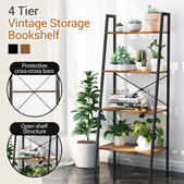 Brand NEW/in stock/Industrial Ladder Shelf 4 layer/ Bookshelf Vintage 4-Tier Bookcase Wood Display