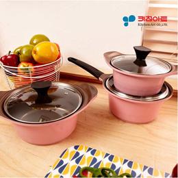 KitchenArt Pink Edition Ceramic 3 pots Set / cooking pot frying pan wok
