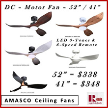 [2018 Sale ] AMASCO WALE 52 Ceiling Fan LED 3-TONES+ 6-SPEED Remote control DC FAN -