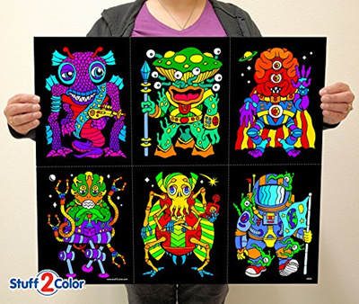 Qoo10 - Stuff2Color Aliens 6-Pack of Fuzzy Velvet Coloring Posters ...