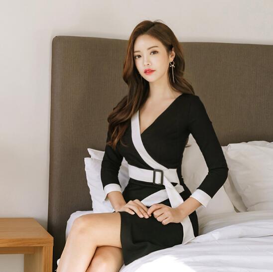 [55555SHOP]★韓国ファッション★ ラップデザインレーヨンワンピース