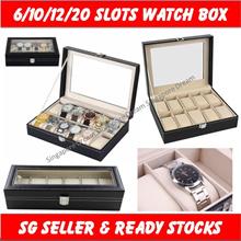 Premium Luxury Watch Box Storage PU Leather Accessories Glass Top Jewelry Case Organizer 6/10/12/20