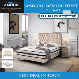 AMOUR BRAND QUEEN SIZE PREMIUM ROSE GOLD METALLIC VELVET BED FRAME/FREE DELIVERY/10 YEARS WARRANTY