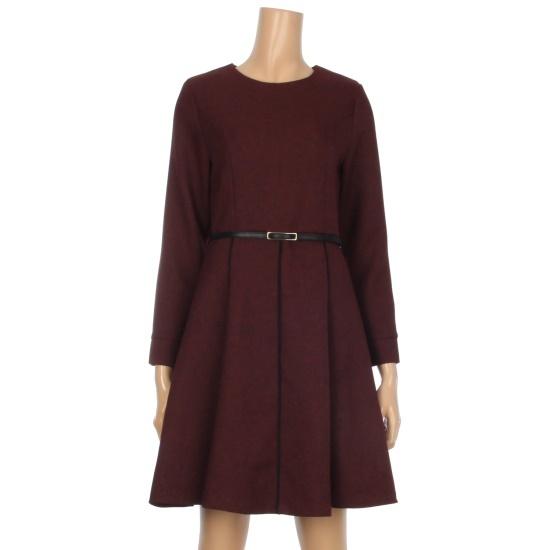 オチョク腰ベルトフレア布留ワンピースK6553501 面ワンピース/ 韓国ファッション