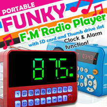 [Funky Creations] Portable FM Radio player with SD card and Thumb drive slot Auto Tuning