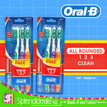 [OFFER] Oral-B All Rounder 123 3-Way Clean (Teeth-Tongue-Gum) Toothbrush - 2 Types - Soft/Medium 3s
