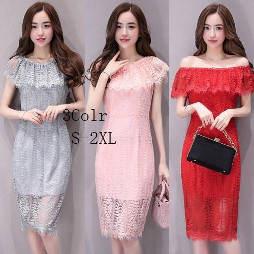 韓国のファッションのレースの襟スリム薄いドレス韓国ファッション/ワンピース/花柄ワンピース/Vネックワンピース
