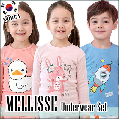 MELLISSE☆2018 Korean production Kids Sleeveless Underwear Set Cotton  sleepwear underwear long 0793ea31c