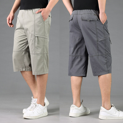 bed6975031 Summer Male Cotton Loose Shorts Elastic Waist Knee Length Pockets fashion  casual plus size L XL