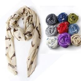 Wanita Elegan Dachshund Print Cotton Scarf Wrap Ladies Selendang Besar Syal Sutra