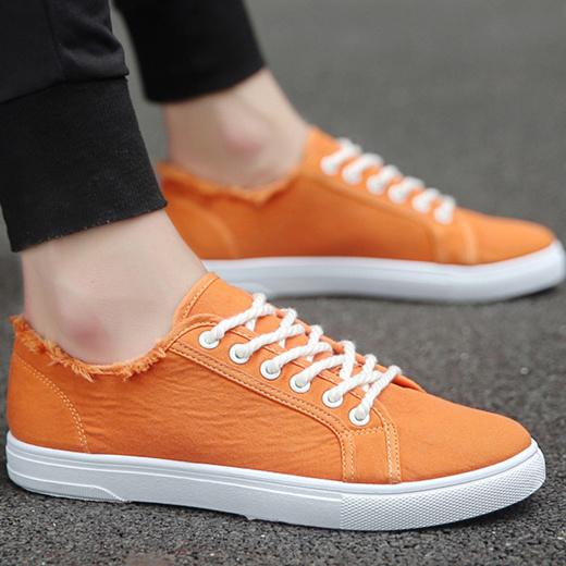Pleated Orange Sneakers Men Casual