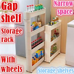 Tight space storage rack/Kitchen/Bathroom rack/wheel shelf/slim design/closet/Orgnizers