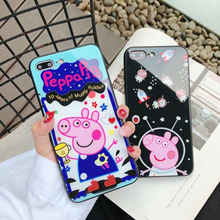 Cute Cartoon Peppa Pig Glass Case TPU Silicone Hard Case for Iphone 6 7 8 Plus X