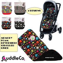 [CuddleCo]★Comfi cush Memory Foam Reversible Stroller Liner★5 Designs Padded Cushion