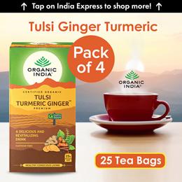 Organic India Tulsi Ginger Turmeric 25 Tea Bags- (Pack Of 4)