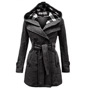 Womenlim Long Sleeve Long Trench Coat with Double-Breasted (Light Grey,Dark Grey,Black,Beige)