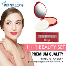 [1+1 hemat berkualitas] SM beauty set powder plus lipstick