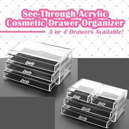 ♥ See-Through Acrylic Cosmetic Drawer Organizer ♥ 2 Types! Makeup Storage Holder