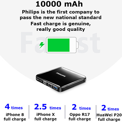 [New] Philips Ultra-Thin Mini Power Bank 10000mAh With Universal Fast Charge .