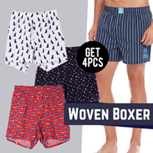 GET 4 PCS - Branded Woven Mens Boxer - Good Quality